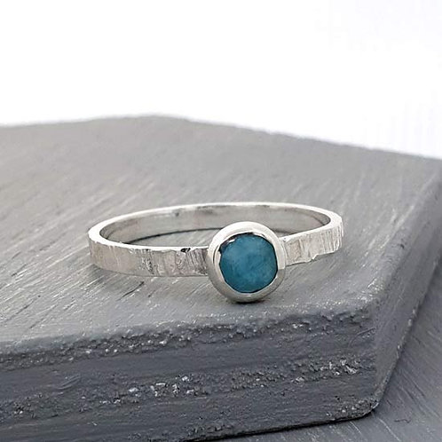 Amazonite Bezel Stacker Ring