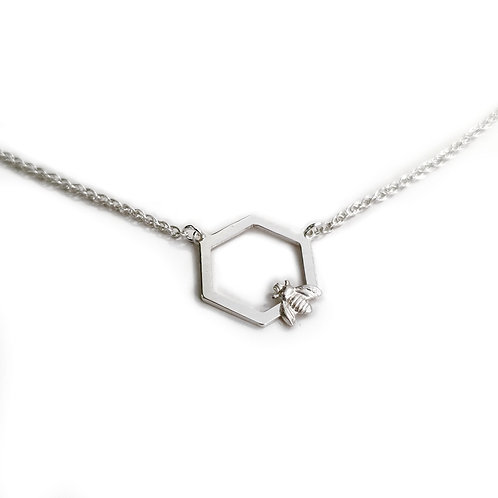 Honeycomb & Silver Bee Pendant Necklace