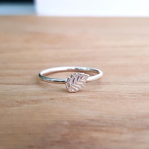 Tiny Leaf Stacker Ring