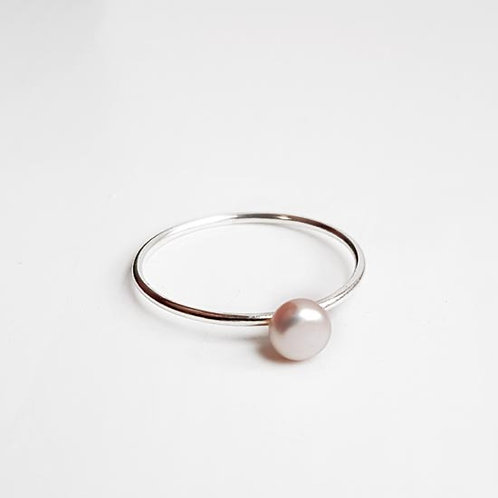 Skinny Sterling Silver Stacker Ring with Pink Rose Fresh Water Pearl