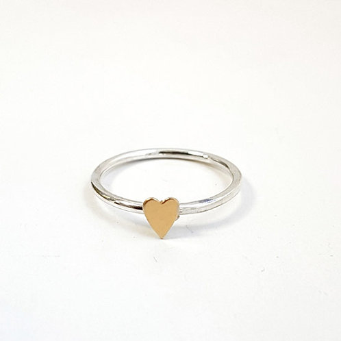 Tiny Gold Heart Stacker Ring