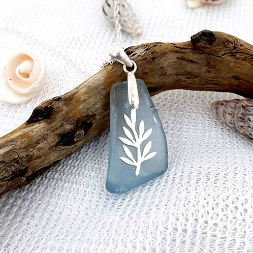 Blue Mermaids Tear with Olive Branch - Seaham Sea Glass Pendant Necklace