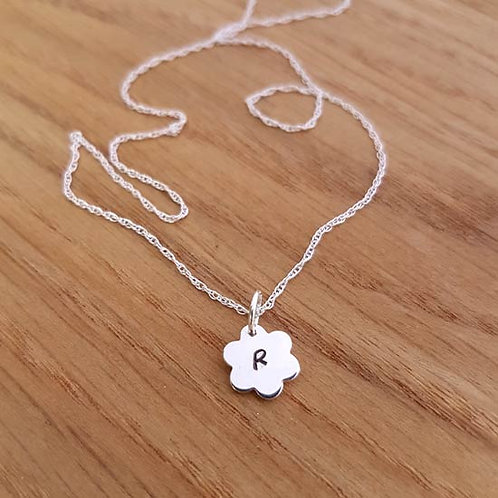 Flower Initial Pendant Necklace
