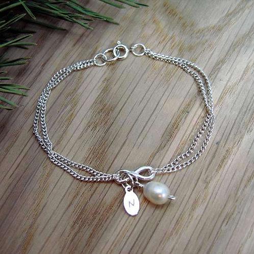 Infinity & Fresh Water Pearl Bracelet
