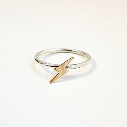 Tiny Gold Bolt Stacker Ring