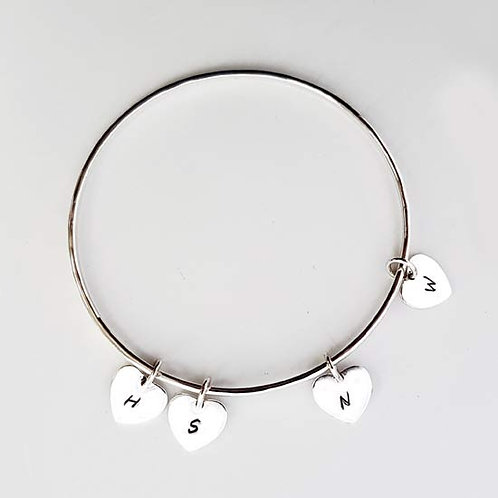 Multi Heart Charm Bangle
