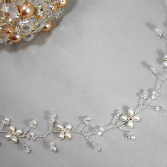 Handmade silver and gold hair vines with crystals and pearls