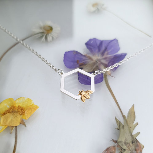 Honeycomb & Gold Bee Pendant Necklace