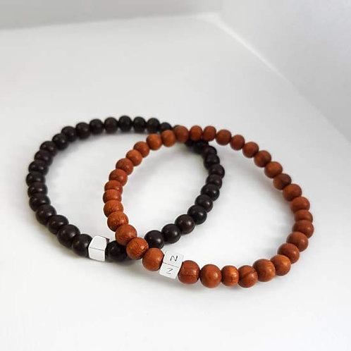 Wooden & Initial Bead Bracelet