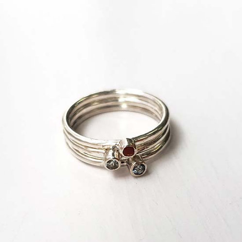Tiny Gemstone Stacker Rings - Set of 3