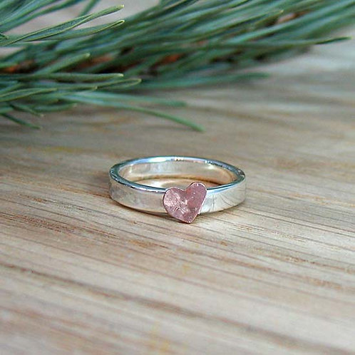 Copper Heart Stacker Ring Band