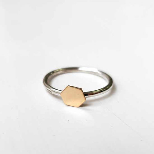 Tiny Gold Hexagon Stacker Ring