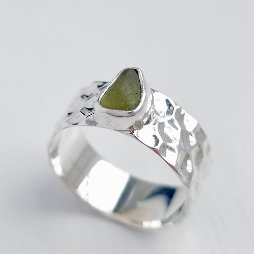 Olive Green Sea Glass & Textured Ring