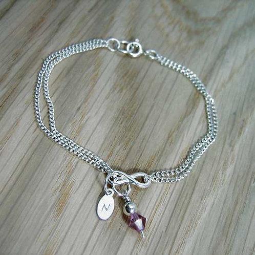 Infinity & Crystal Drop Bracelet