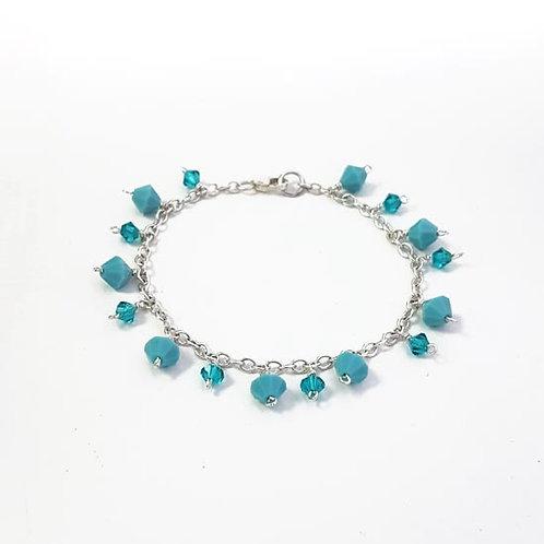 Turquoise & Blue Zircon Pendant Charm Bracelet