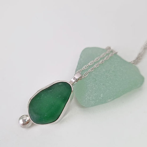 Green Seaham Sea Glass Necklace