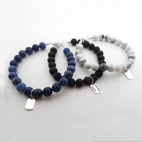 Semi Precious Gemstone Bead & Dog Tag Bracelet