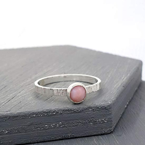 Pink Opal Bezel Stacker Ring
