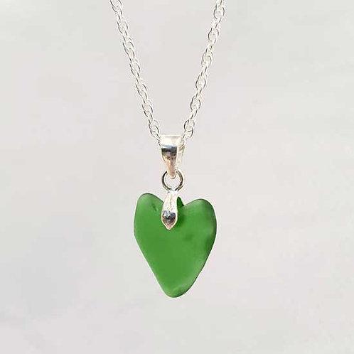 Green Heart Mermaids Tear Pendant Necklace - Sterling Silver Sea & Glass