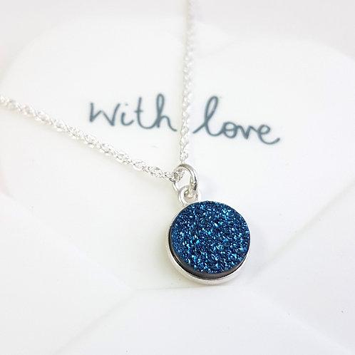 Blue Druzy Sparkle Pendant Drop Necklace