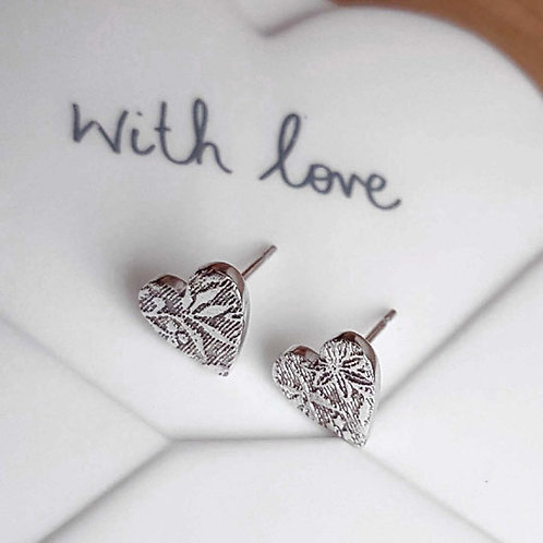 Floral & Leaf Textured Heart Stud Earrings