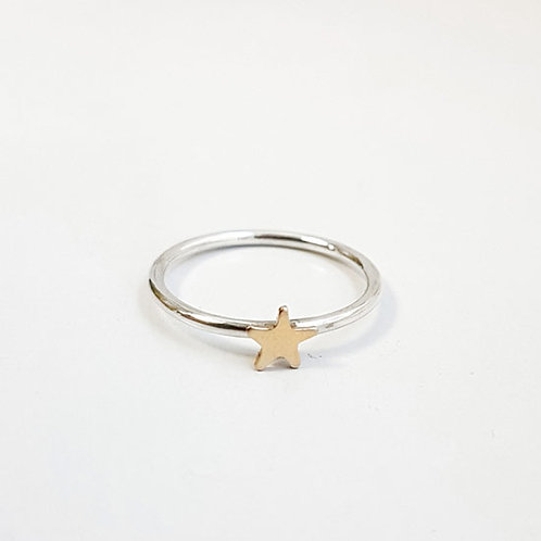 Tiny Gold Star Stacker Ring