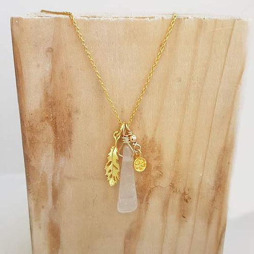 Seaham Sea Glass & Feather Charm Necklace