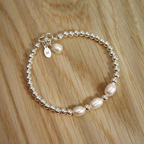 Fresh Water Pearl Crystal & Silver Beaded Bracelet