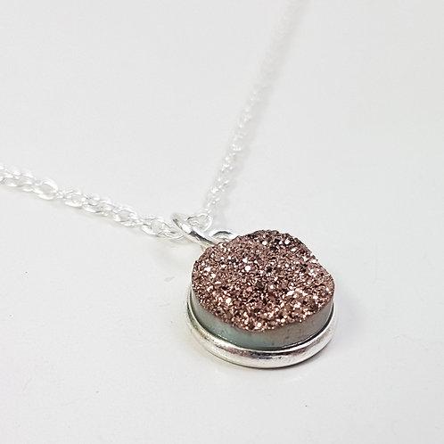 Copper Druzy Sparkle Pendant Drop Necklace