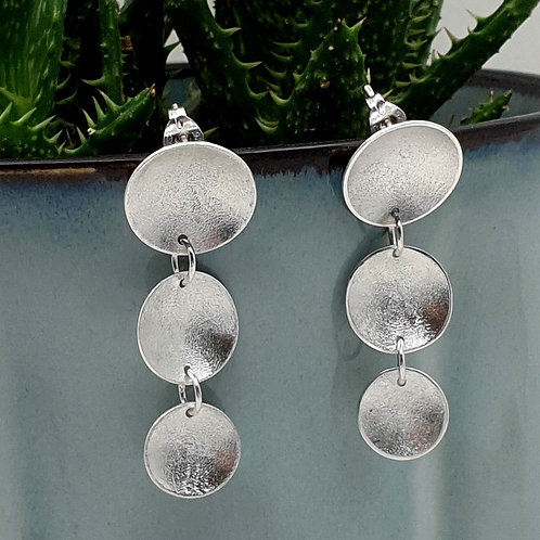 Frosted Disc Drop Earrings