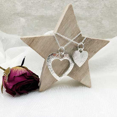 Mother & Daughter Heart Pendant Necklace Duo