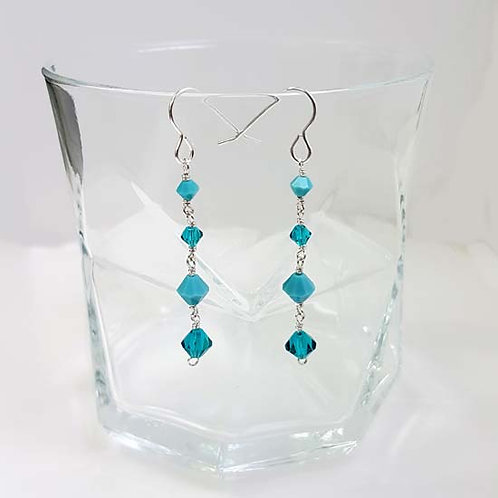 Turquoise & Blue Zircon Drop Earrings
