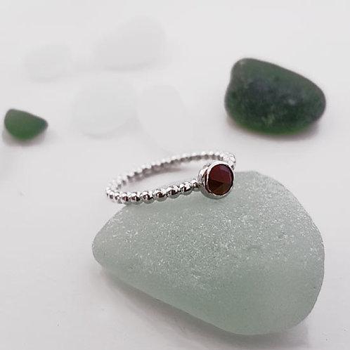 Facet Garnet Stacker Ring