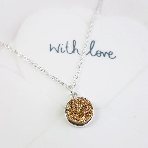 Gold Druzy Sparkle Pendant Drop Necklace