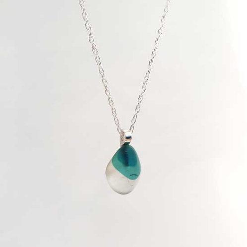 Three-Tone Blue Mermaids Tear - Seaham Sea Glass Pendant Necklace