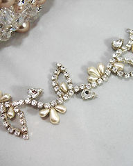 Handmade Wedding Hair Vine in silver and gold wth crystal and pearls