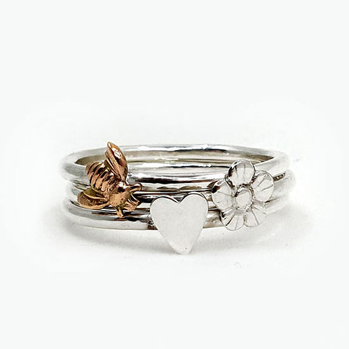 Love Nature Stacker Rings - Set of 3