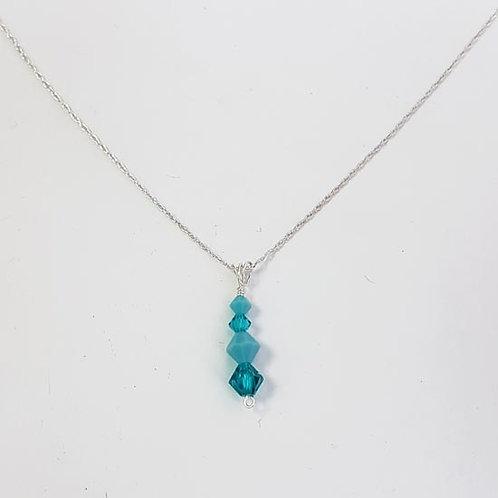 Turquoise & Blue Zircon Pendant Drop Necklace
