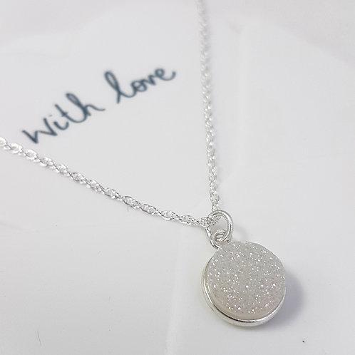White Druzy Sparkle Pendant Drop Necklace