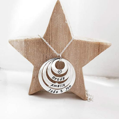 Multi Family Stacker Washer Ring Necklace