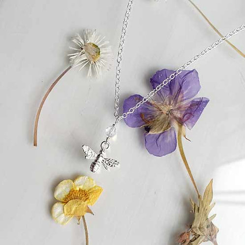 Bee & Crystal Pendant Necklace