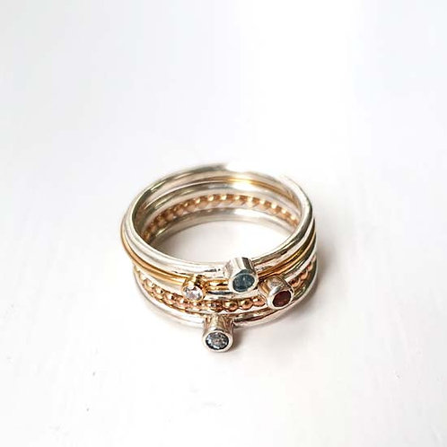 Tiny Gemstone, Sterling Silver & Gold Stacker Rings - Set of 5