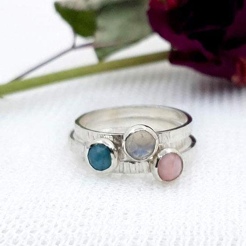 Set of 3 Gemstone Bezel Stacker Ring