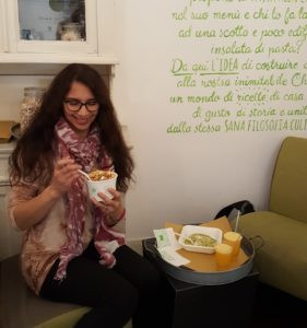 Jenn enjoying gluten free Slow food at Ciao Checca in Rome