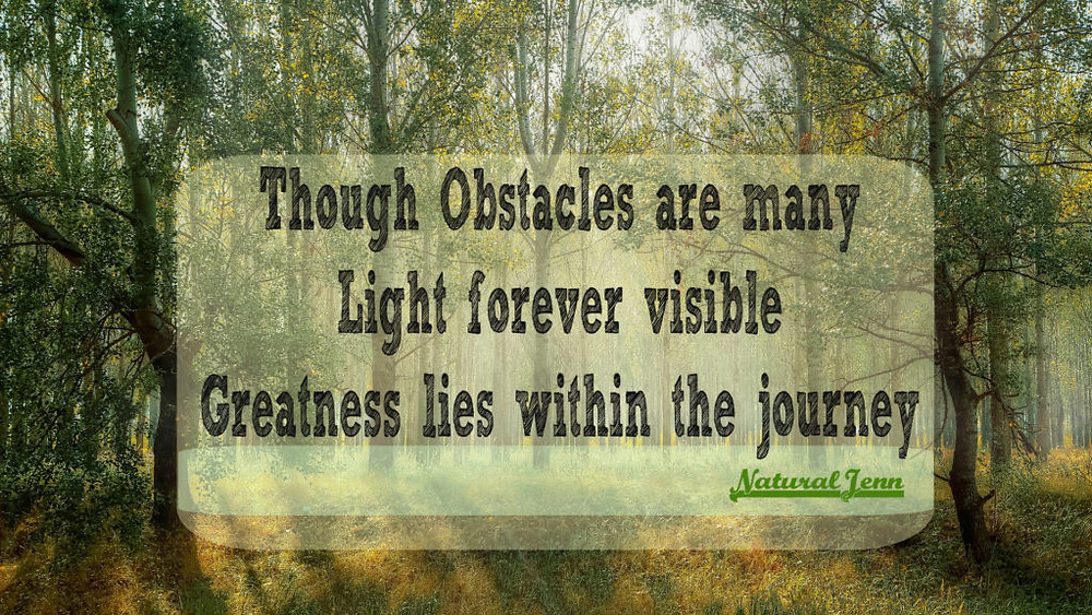 Though obstacles ae many, light forever visible Greatness Lies in the Journey