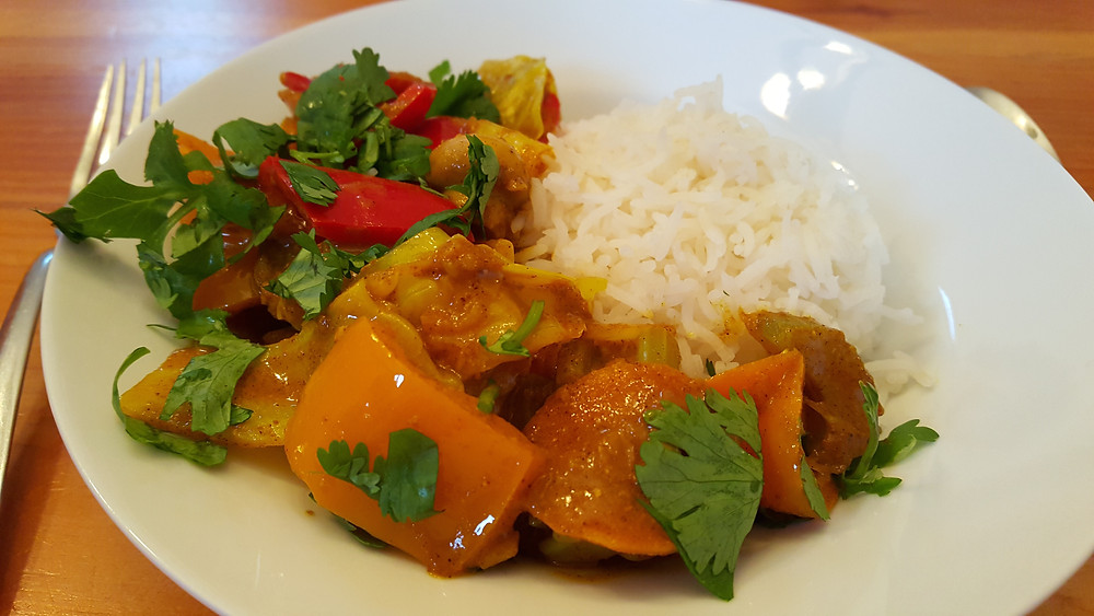 vegetable curry over rice