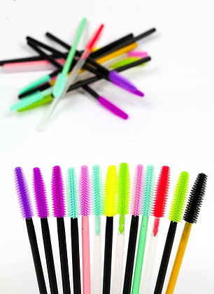 DISPOSABLE SILICON EYELASH BRUSH MASCARA WANDS (50PCS)