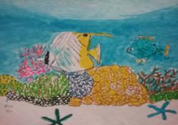 Threadfin butterflyfish & blue damsel