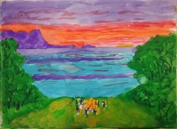 Hinchinbrook Island from Orpheus Island at sunset