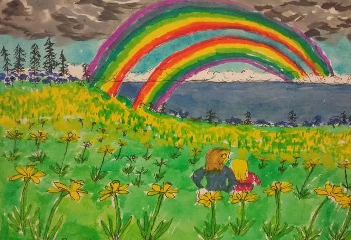 Double Rainbow, daffodil field, No
